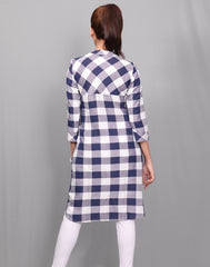 White 'N' Navy Viscose Rayon Checked Tunic