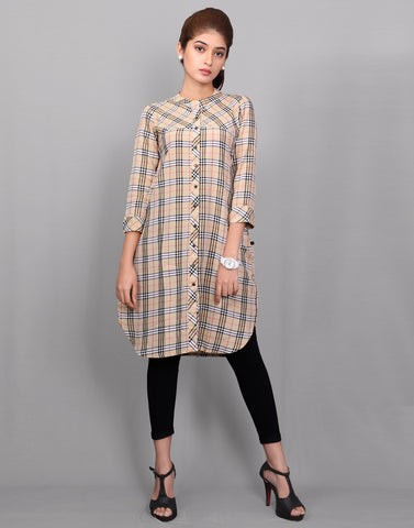 Multicolor Viscose Rayon Checked Tunic