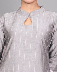 Grey Viscose Rayon Straight Cut Kurta