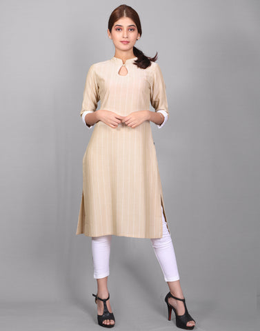 Cloud Cream Viscose Rayon Straight Cut Kurta