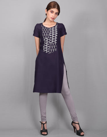 Twilight Blue Rayon Straight Cut Kurta