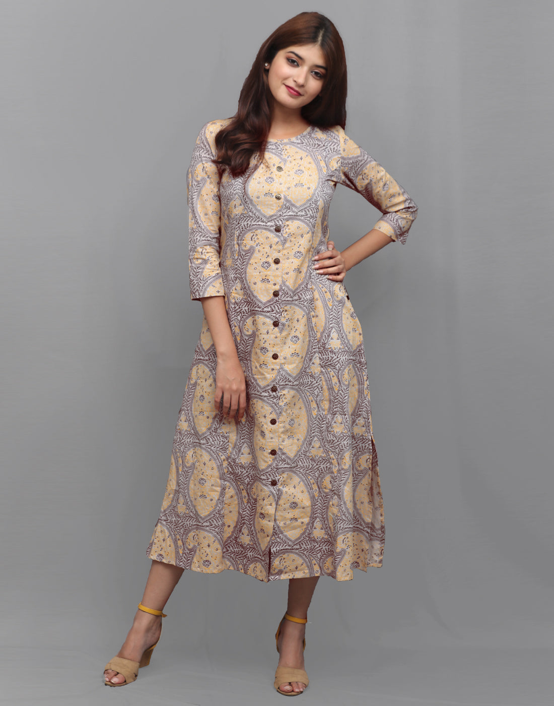 Ash Grey Printed Cambric Kurta Dress