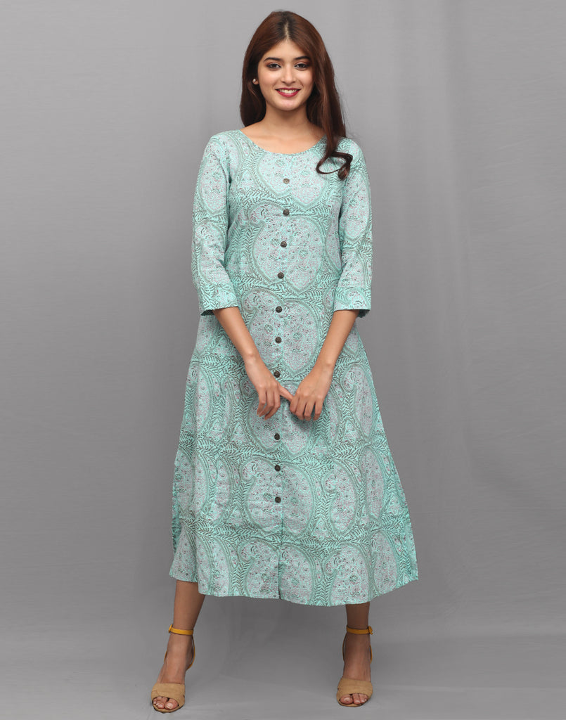 Canal Blue Printed Cambric Kurta Dress