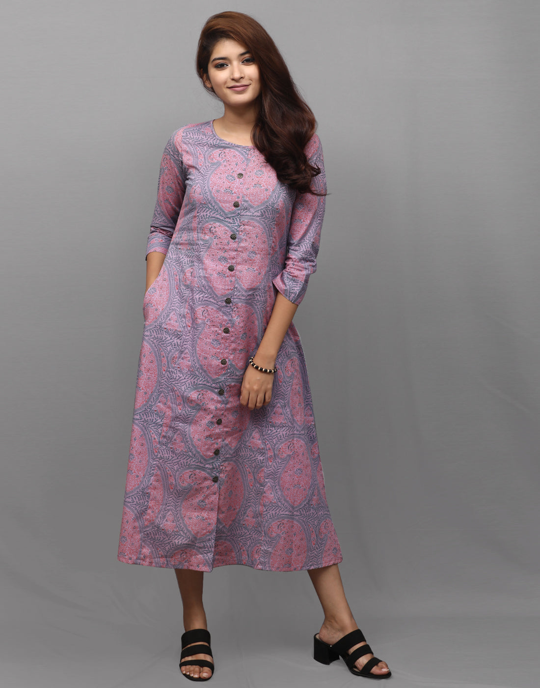 Chalk Violet Printed Cambric Kurta Dress