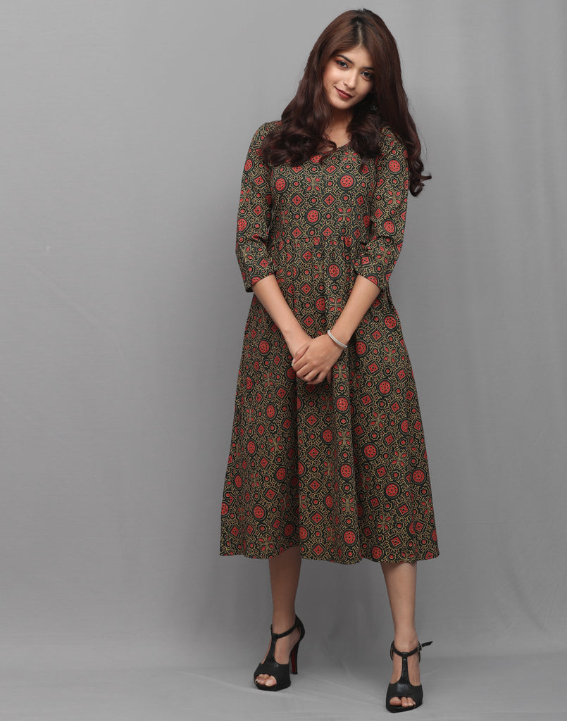 Green Rayon Ajrakh Prints Pocket Kurta Dress
