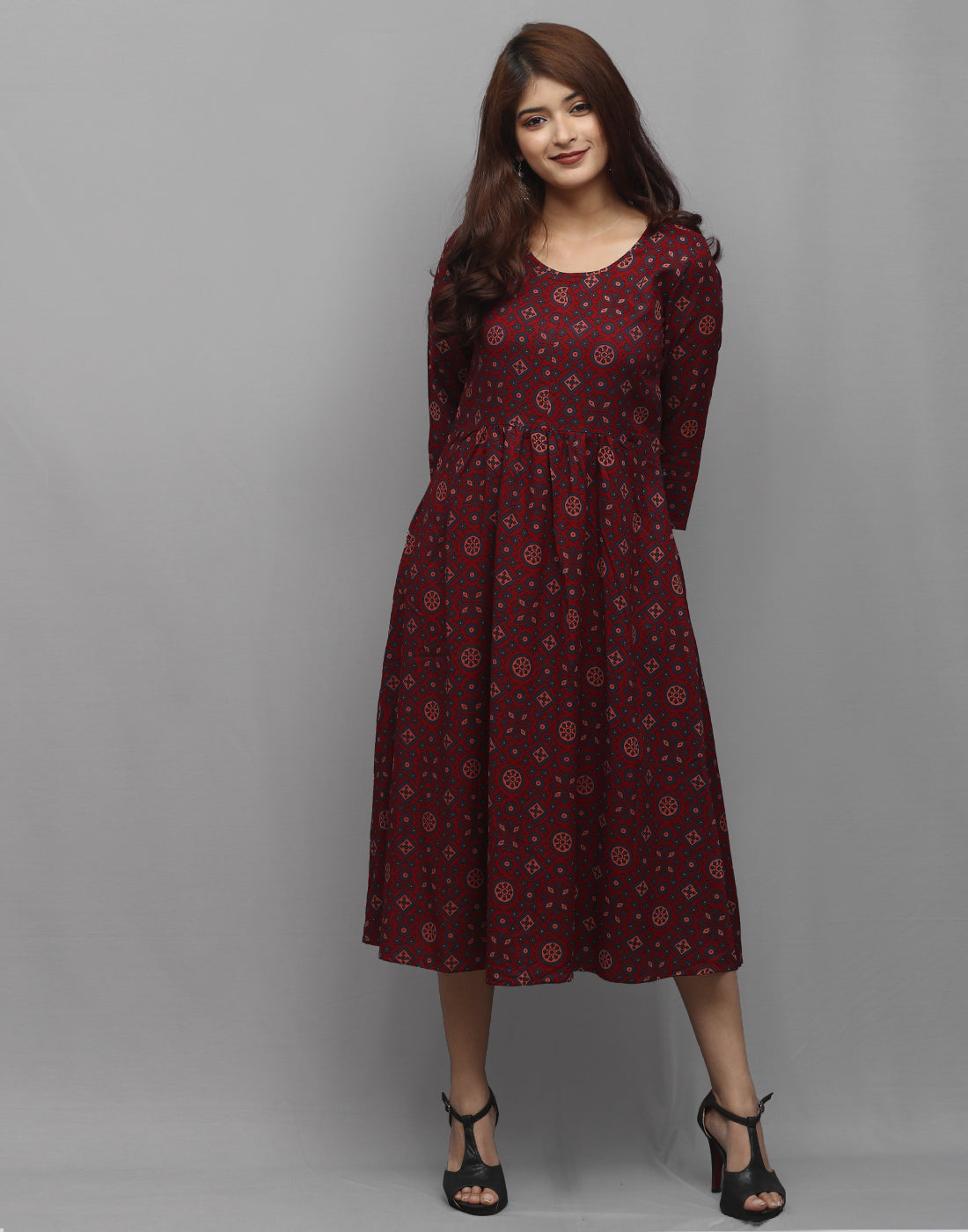 Maroon Rayon Ajrakh Prints Pocket Kurta Dress