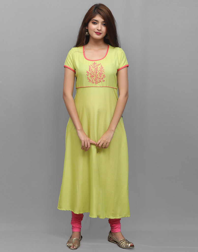 Celery Green Rayon Embroidered Anarkali Kurta