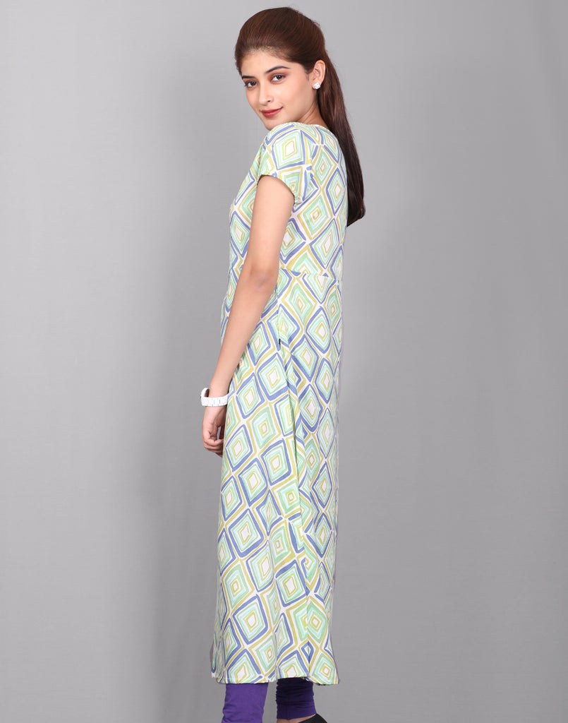 Off White 'N' Green Printed Rayon Anarkali Kurta