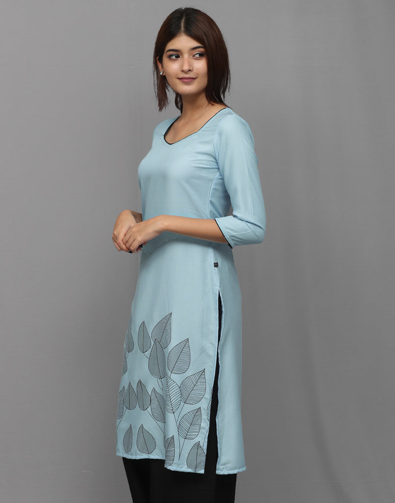 Pastel Blue with Retro Prints Kurta