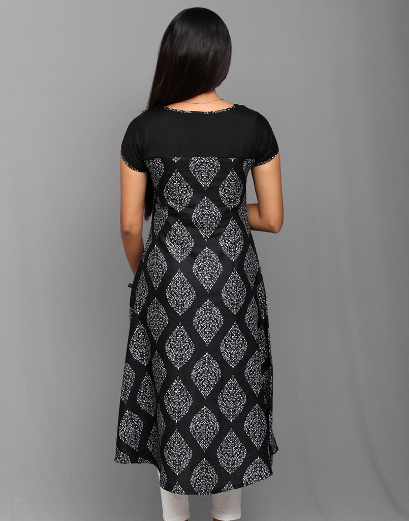 Black Rayon Flex Block Print Anarkali