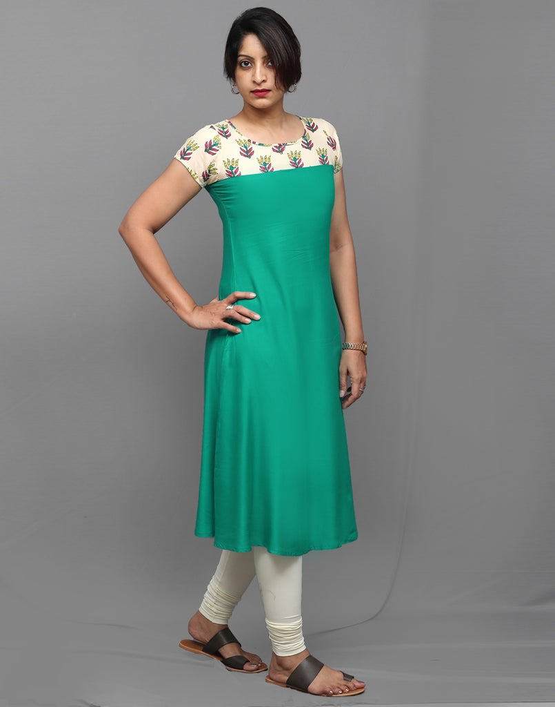 Turquoise and Cream A-Line Kurta