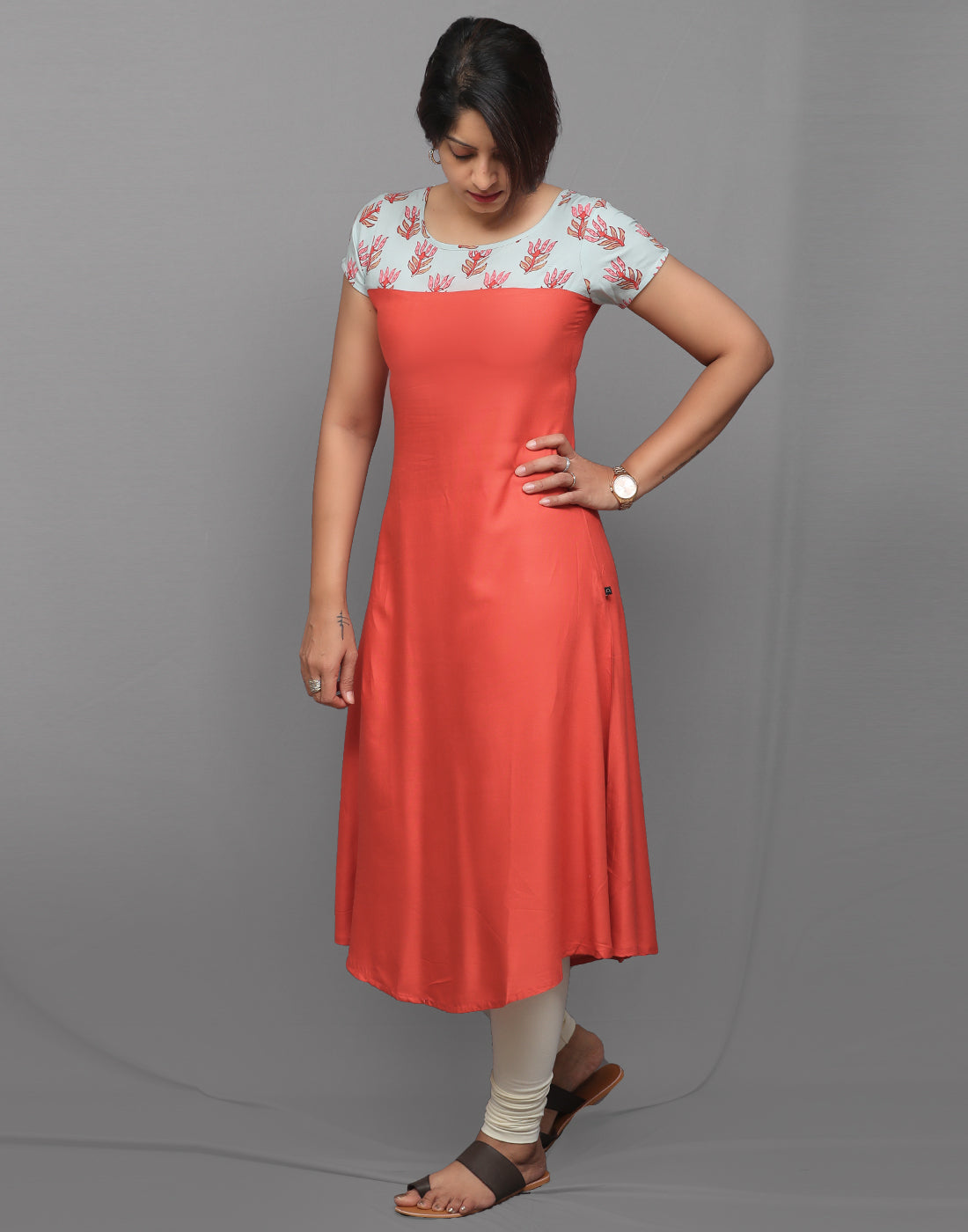 Red Orange and Mint A-Line Kurta