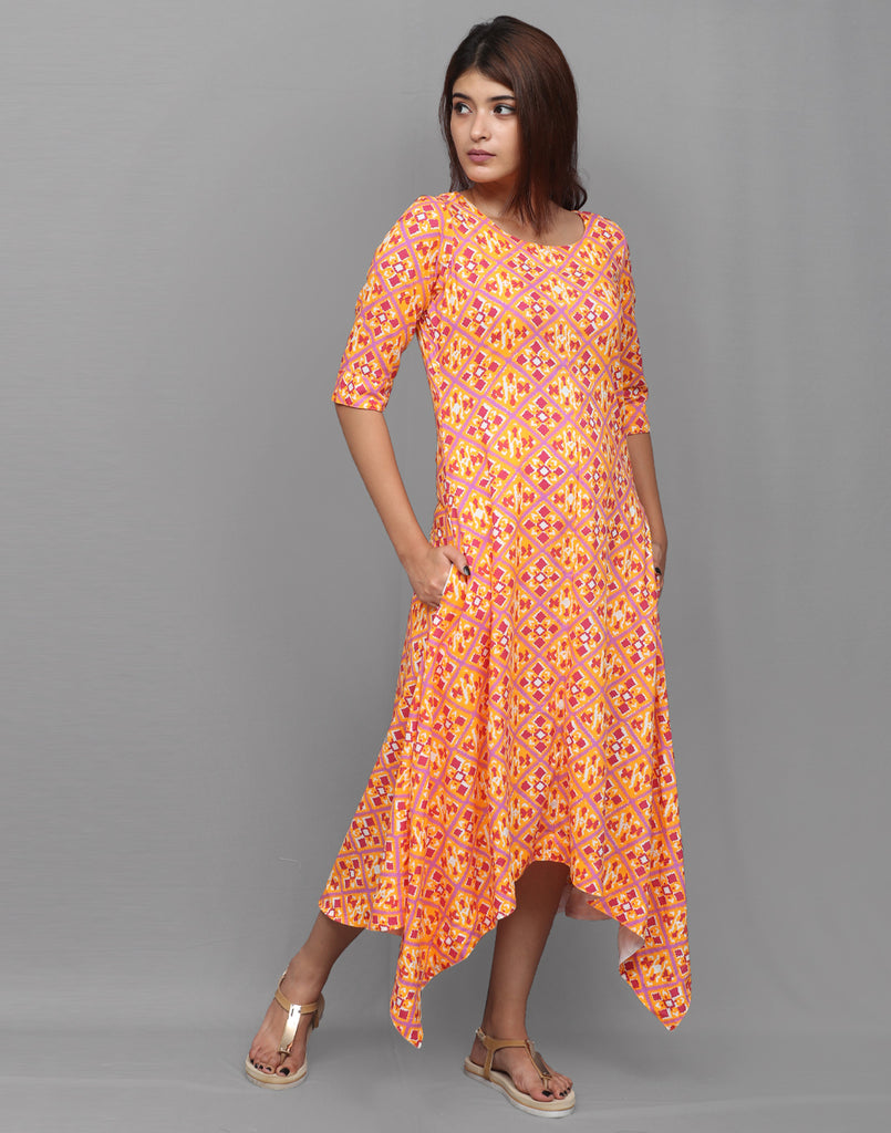 Blazing Orange N Red Viscose  Asymmetric Kurta