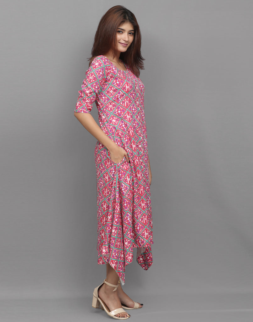 Hibiscus Red Printed Viscose  Asymmetric Kurta