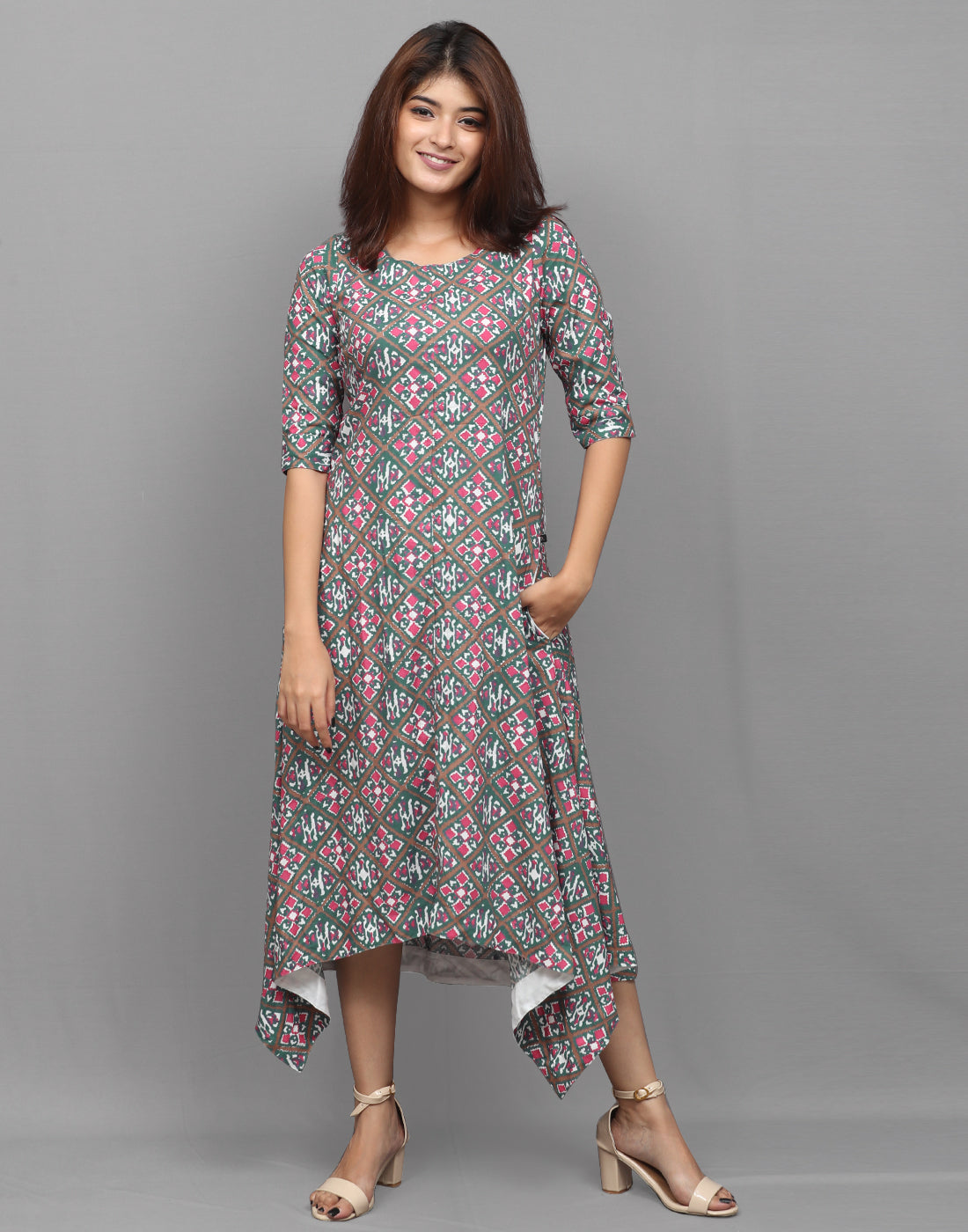 Smoked Pine Green Viscose Asymmetric Kurta