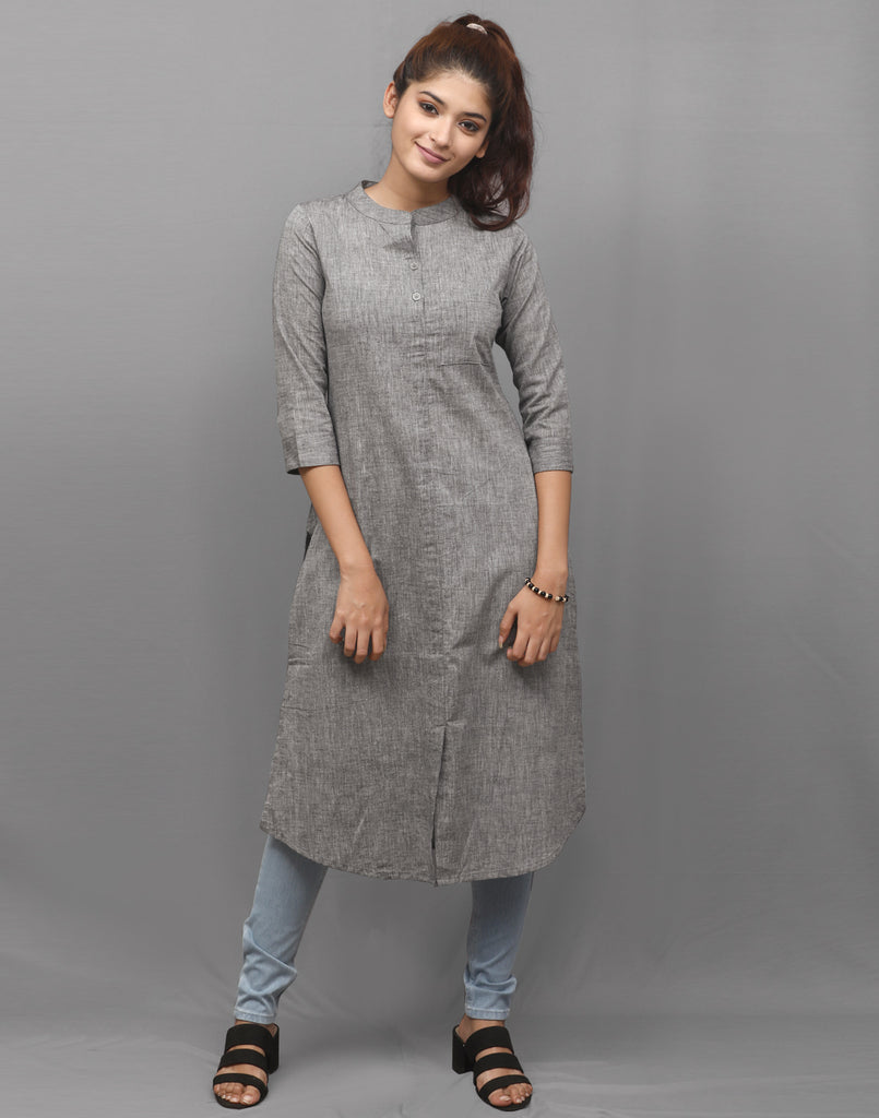 Ash Grey Chambray Straight Cut Kurta