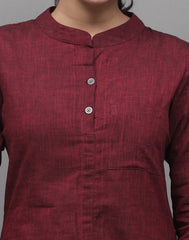 Biking Red Chambray Straight Cut Kurta