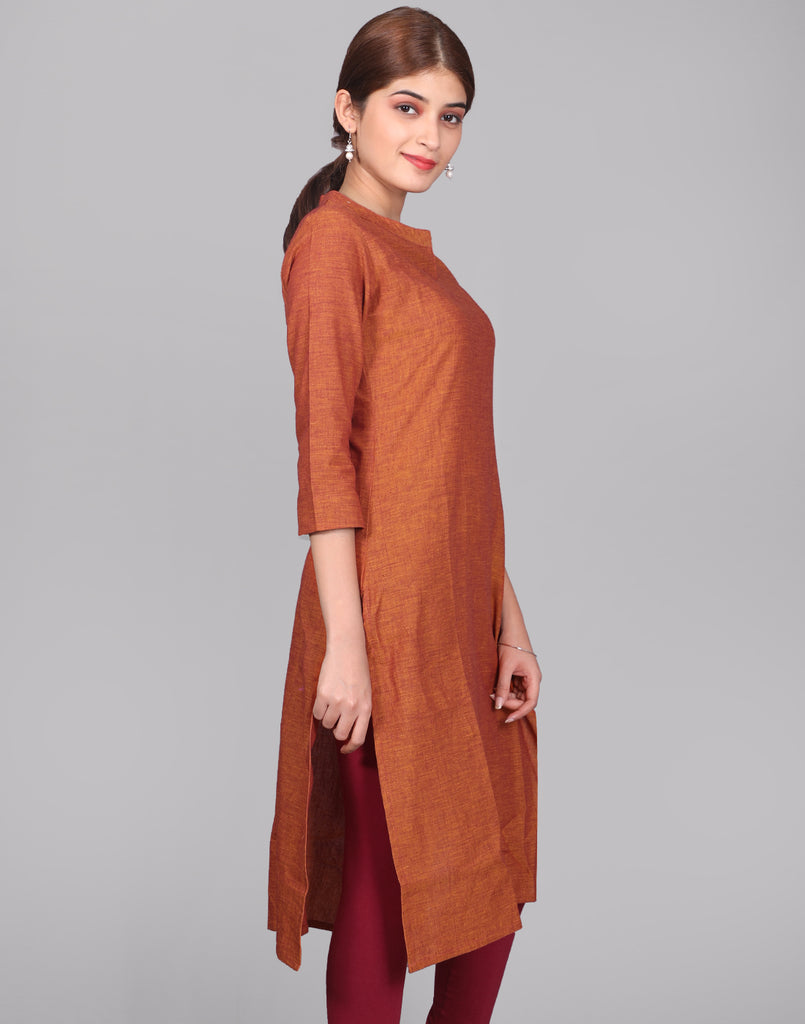 Apricot Orange Chambray Straight Cut Kurta
