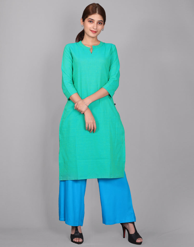 Teal Chambray Straight Cut Kurta