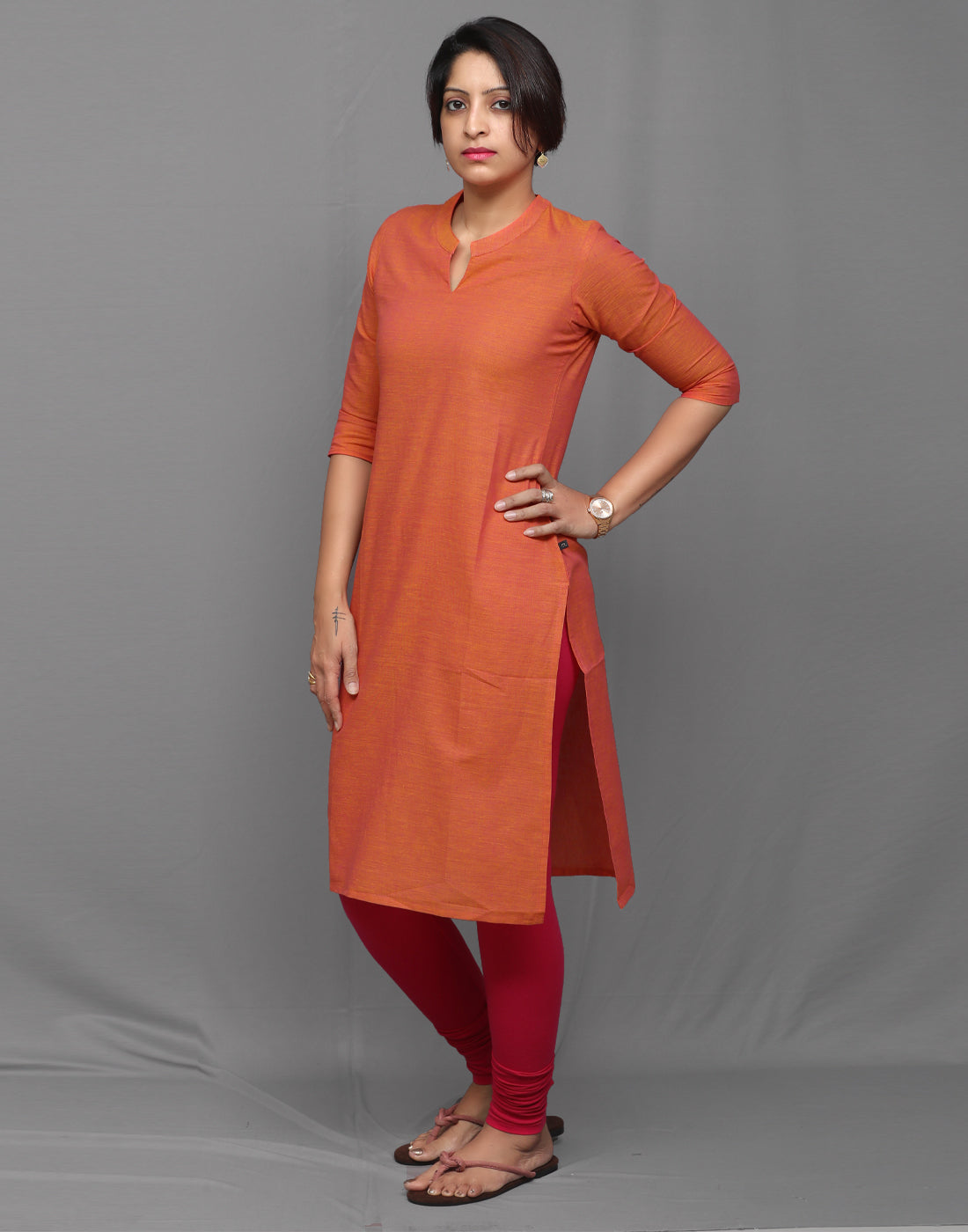 Orange Pink Chambray Straight Cut Kurta