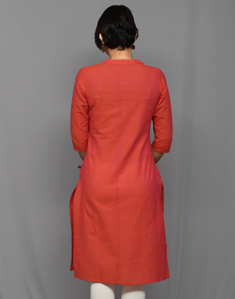 Pink Orange Chambray Straight Cut Kurta