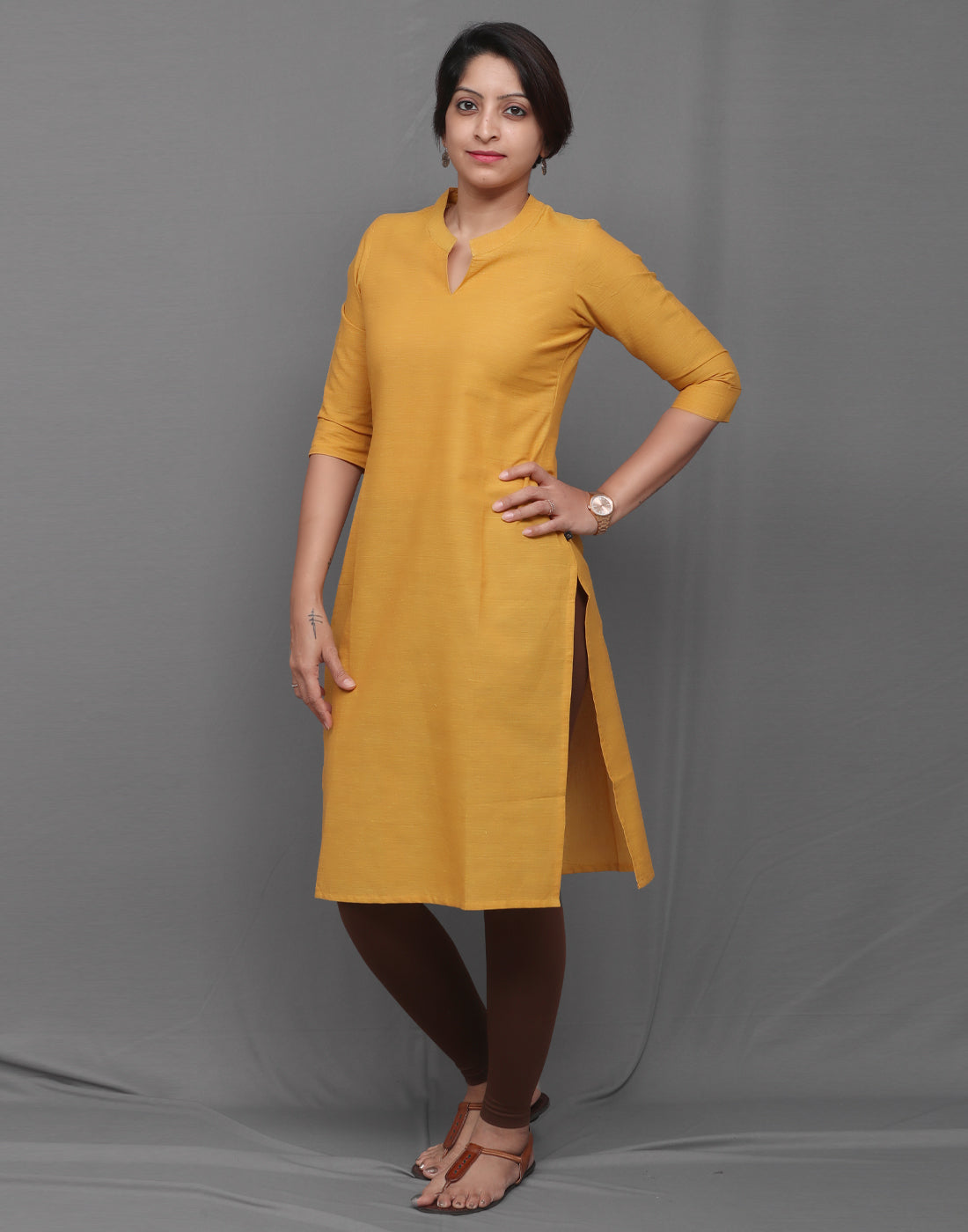 Yellow mustard Straight Cut Kurta