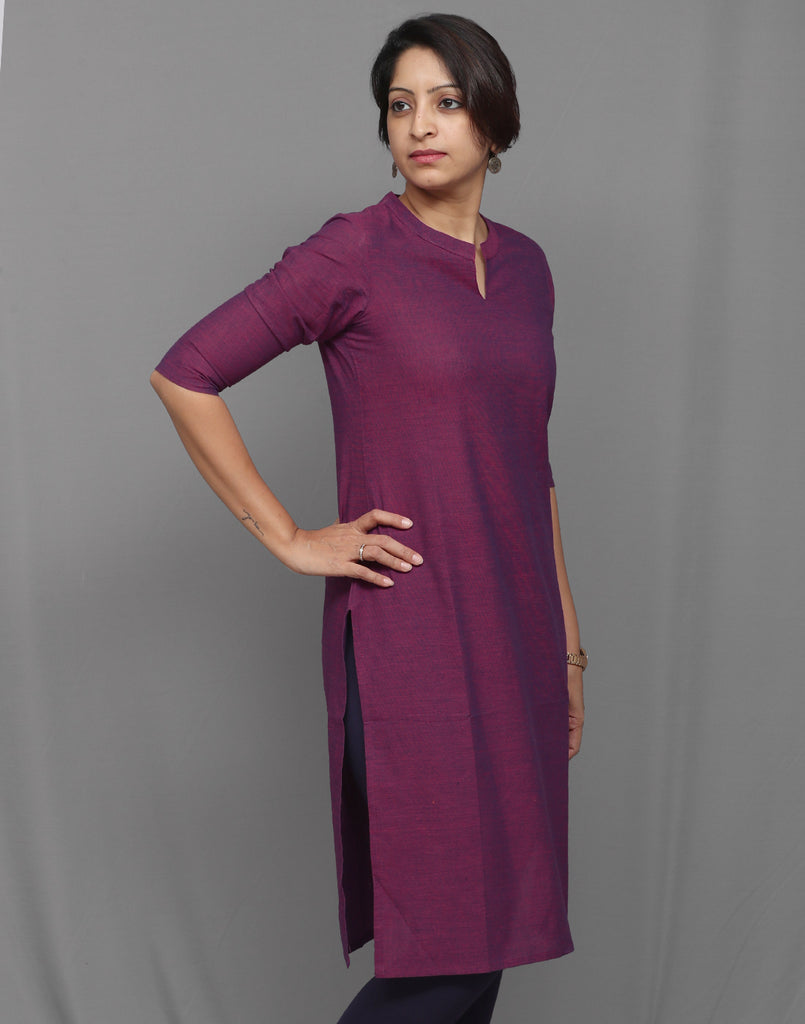 Dark purple Chambray Straight Cut Kurta