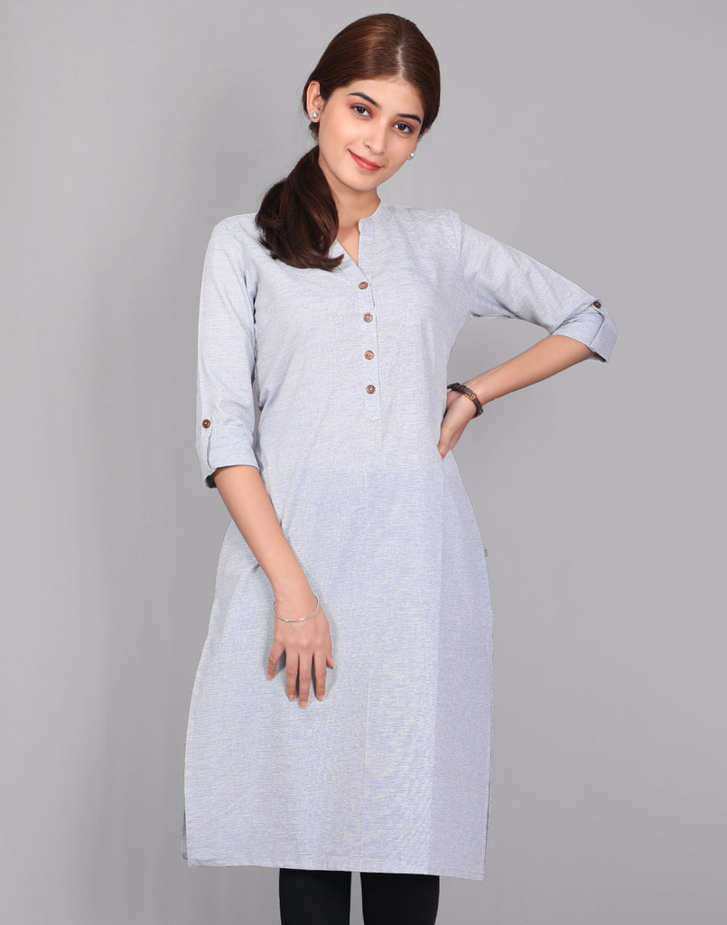 Glacier Gray Fancy Yarn Straight Cut Kurta