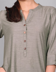 Castor Gray Fancy Yarn Straight Cut Kurta