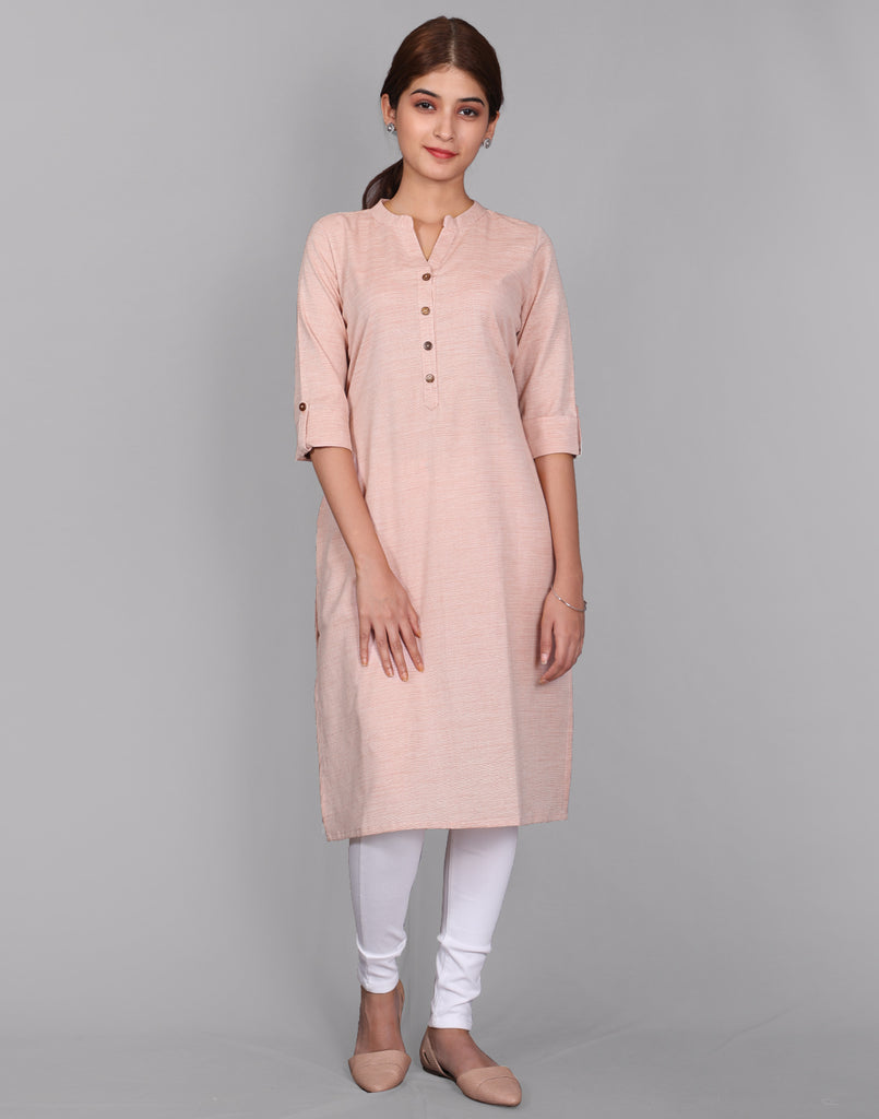 Candlelight Peach Fancy Yarn Straight Cut Kurta