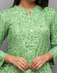 Nature Green Abstract Printed Button Down Kurta