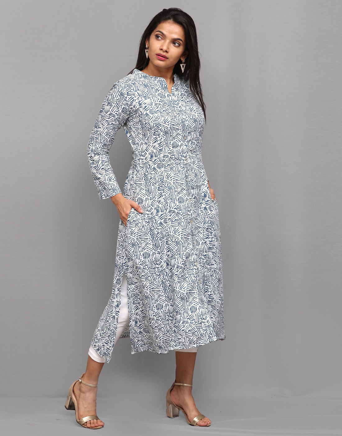 Indigo Blue Abstract Printed Button Down Kurta