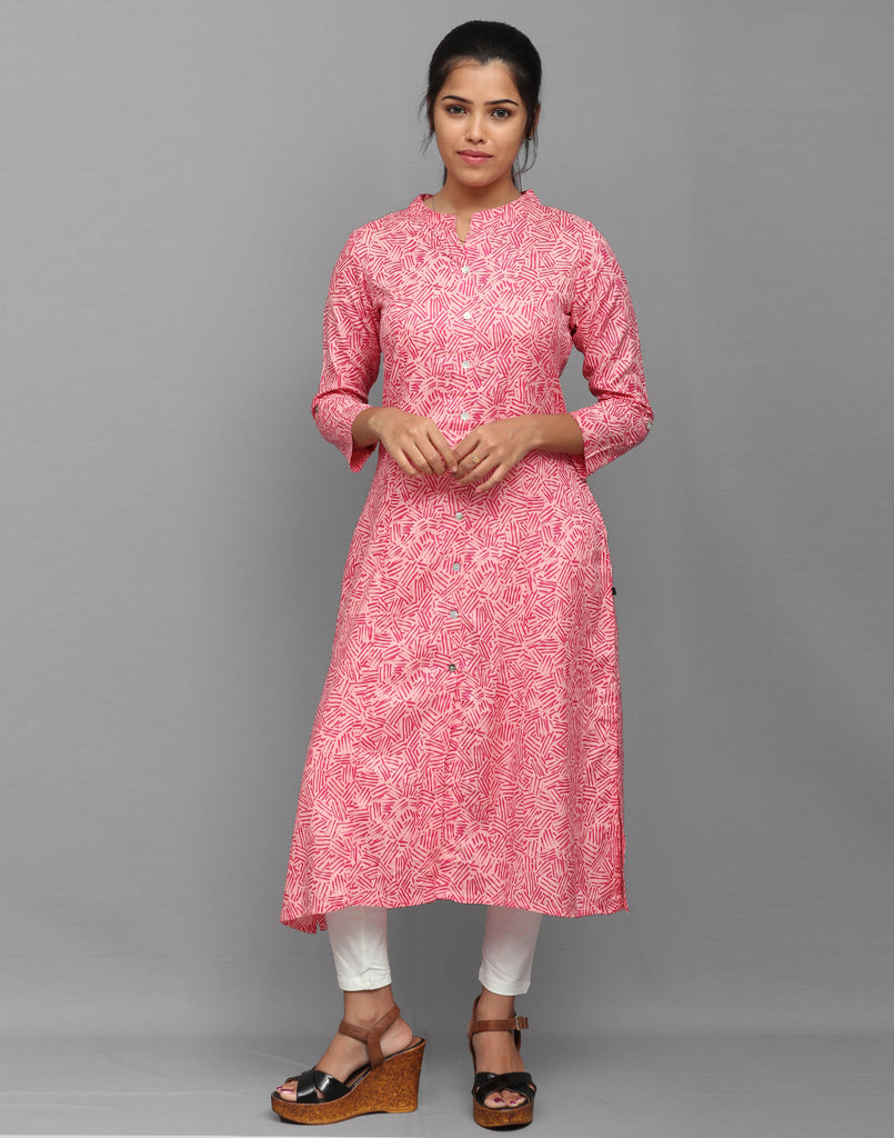 Pastel Pink Abstract Printed Button Down Kurta