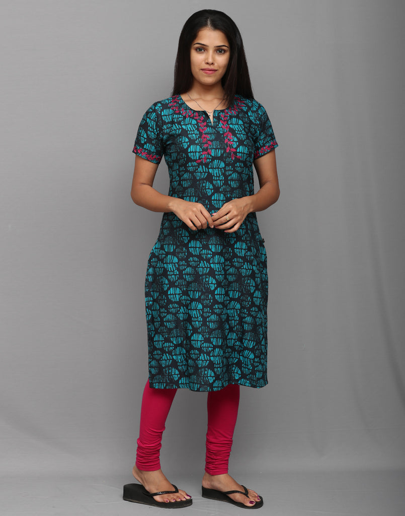 Blotch Blue Printed Kurta with Retro Embroidery