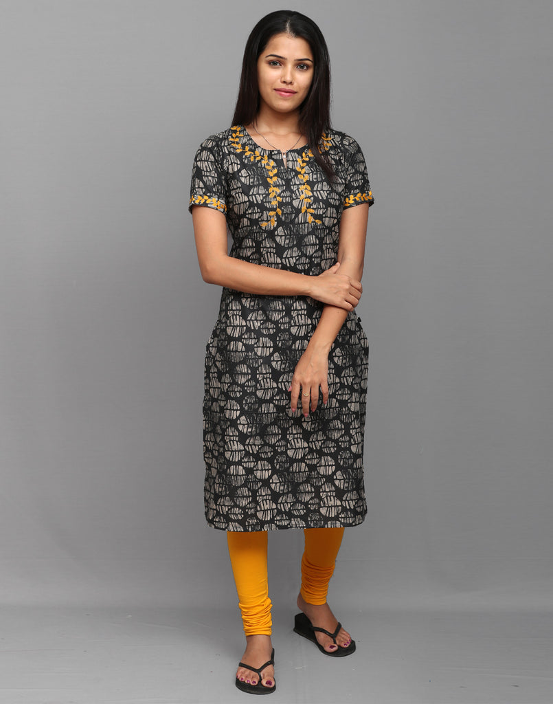 Blotch Grey Printed Kurta with Retro Embroidery