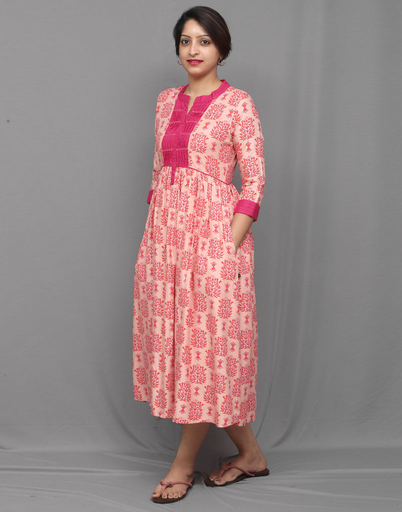 Mauve and Hot Pink Ethnic Printed Maxi Anarkali Dress