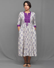 Cream and Purple  Ethnic Printed Maxi Anarkali Dress
