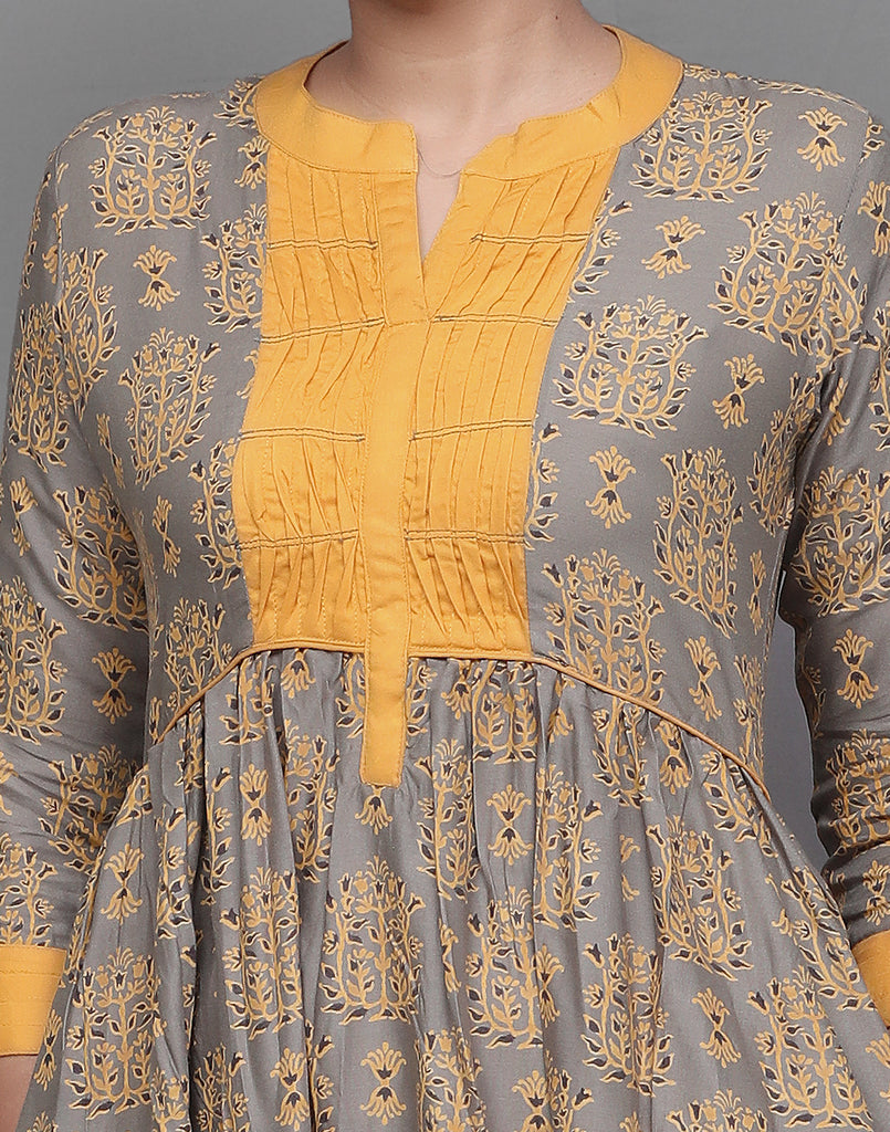 Grey and Mustard  Ethnic Printed Maxi Anarkali Dress