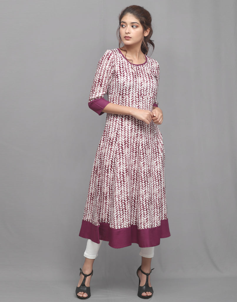 Beet Red Printed Rayon Anarkali Kurta