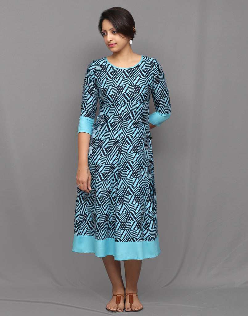 Indigo and Sky Blue Geometric Printed Anarkali