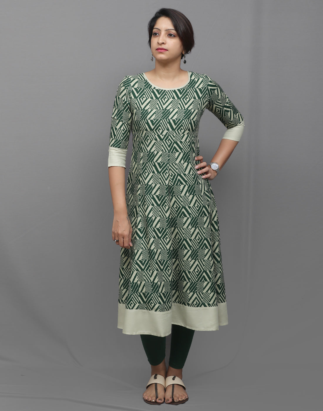 Pastel and Bottle Green Geometric Printed Anarkali