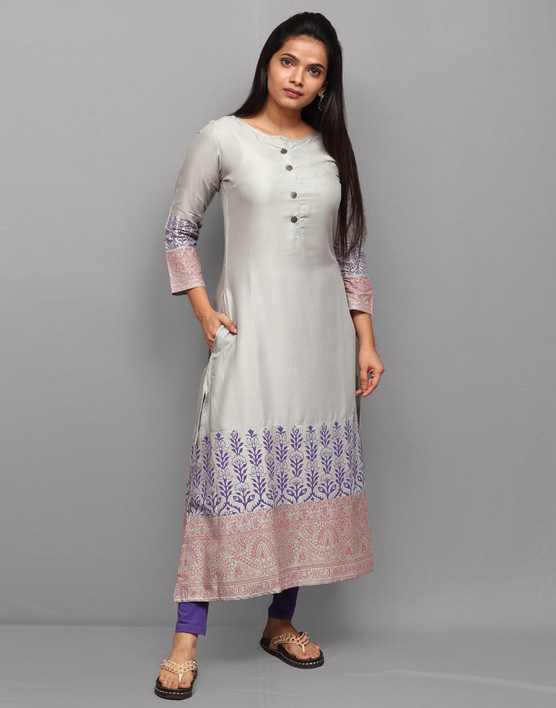 Cement Grey with Traditional Prints Kurta