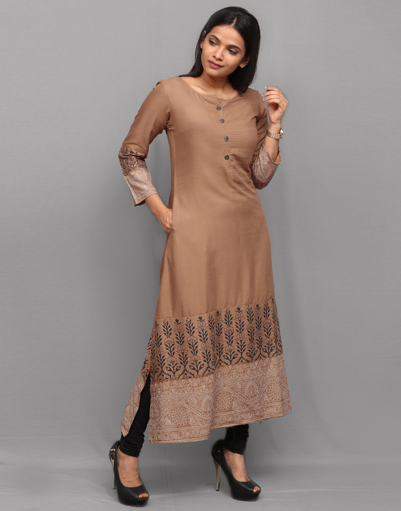 Antique Brass with Traditional Prints Kurta