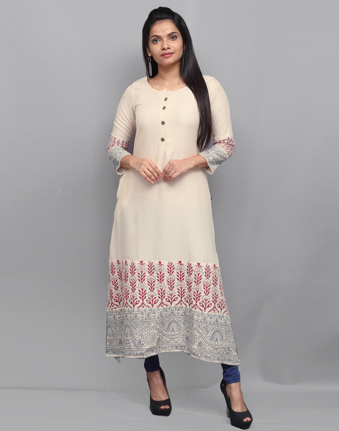 Sparkling White with Traditional Prints Kurta
