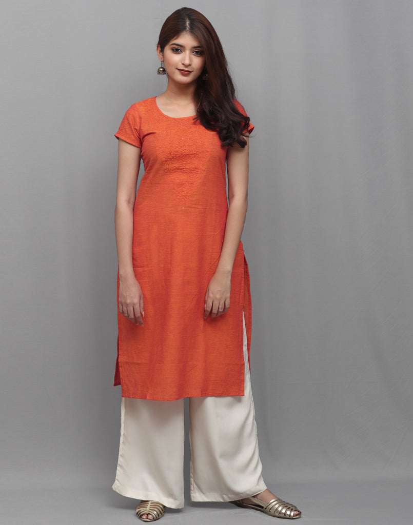 Vibrant Orange Chambray Embroidered Straight Cut Kurta