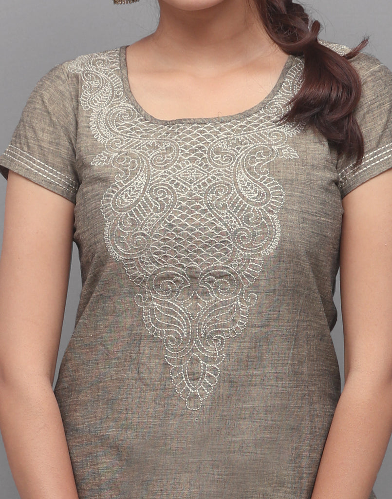 Silver Grey Chambray Embroidered Straight Cut Kurta