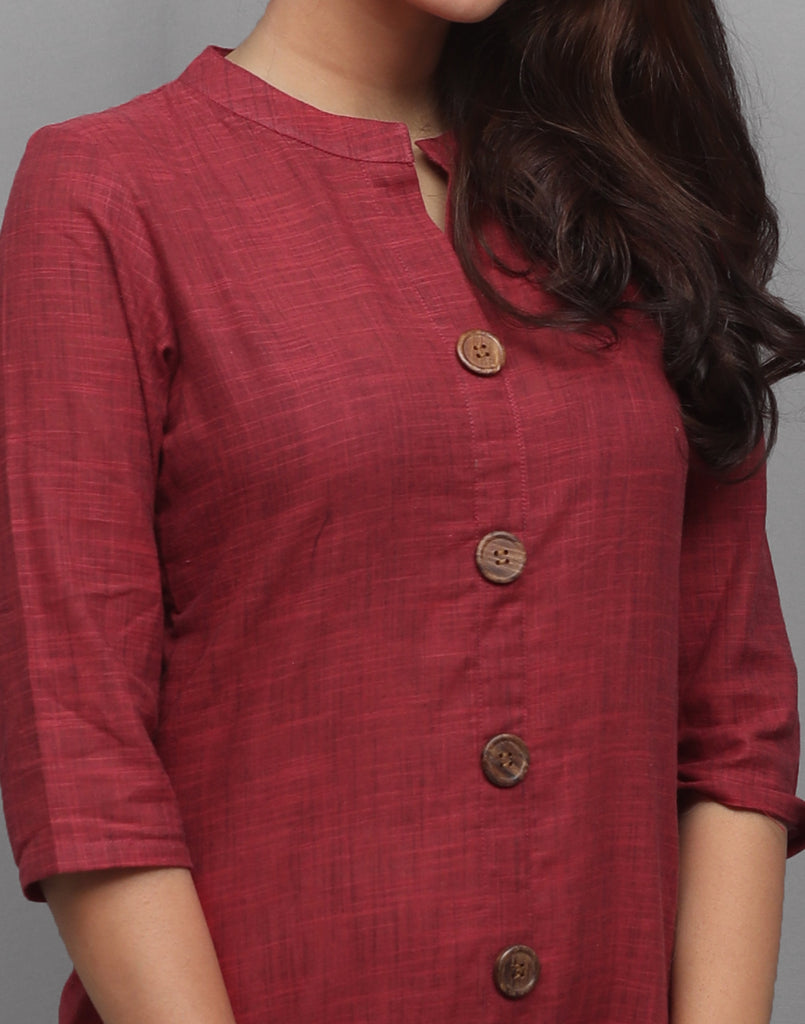 Ribbon Red Slub Cotton Hi-Low Straight Cut Kurta