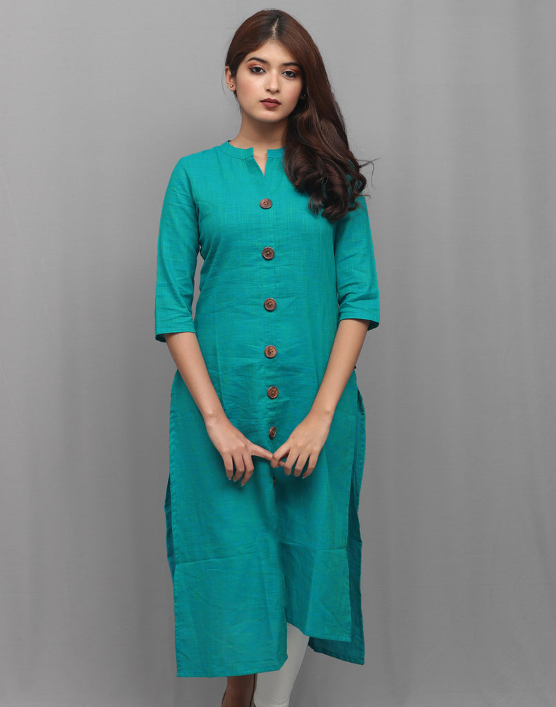 Blue Atoll Slub Cotton Hi-Low Straight Cut Kurta