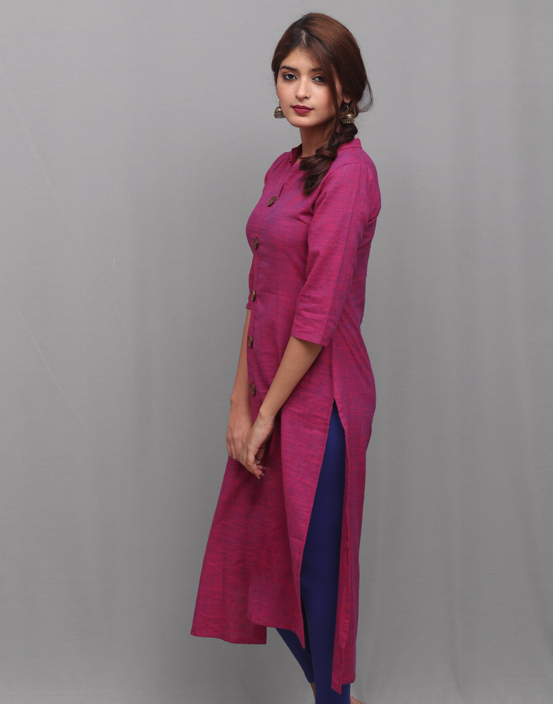 Lilac Rose Slub Cotton Hi-Low Straight Cut Kurta