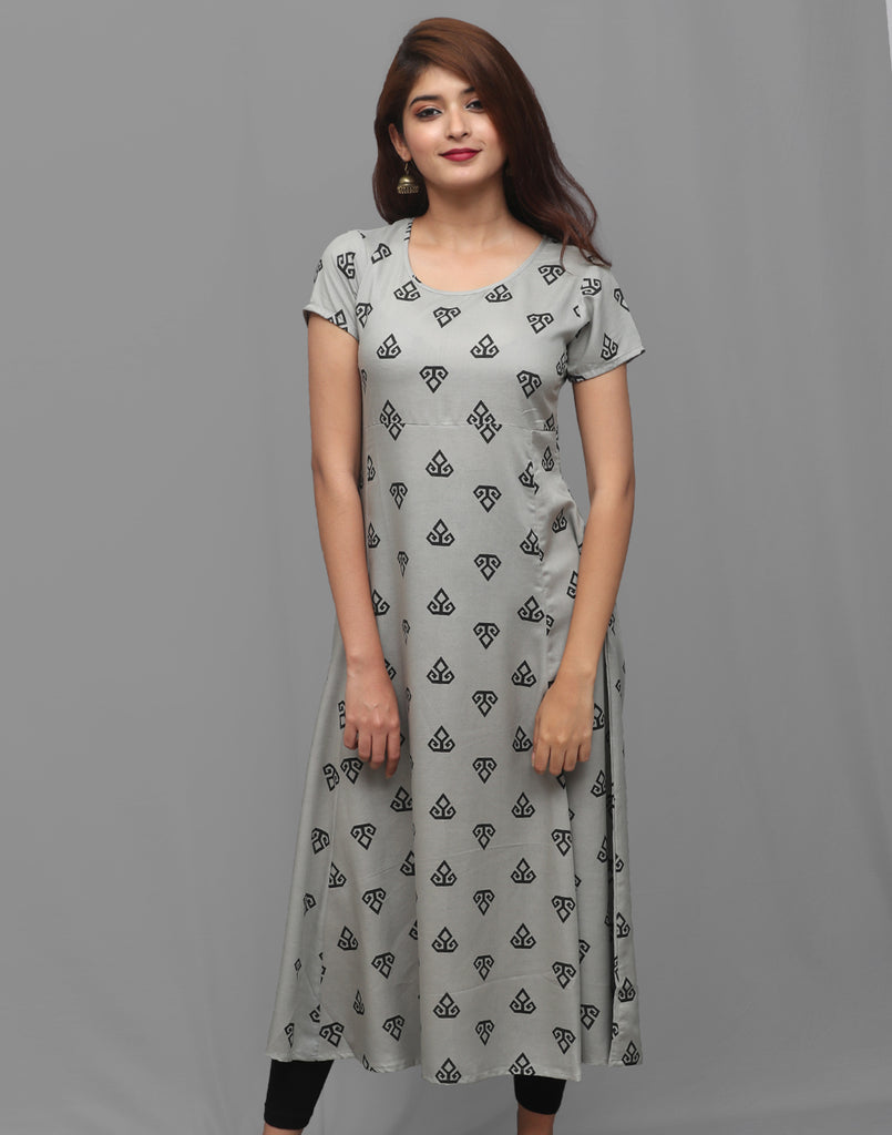 Dark Gull Grey Printed Rayon Anarkali Kurta